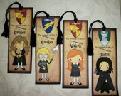 HARRY POTTER  - Personalized Bookmarks - Wizards - Set of 4 Laminated Bookmarks - Party favors - Stocking Stuffers -  HP 4409