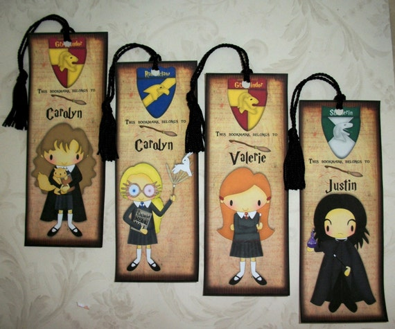 HARRY POTTER Bookmarks - Wizards - Set of 4 Laminated Bookmarks - Personalized - Stocking Stuffers -  HP 4409
