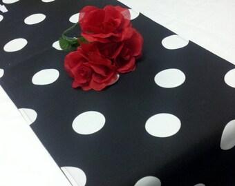 "108"" table Runner Polka Dot  Black with x-large white dots wedding, bridal, home decor"