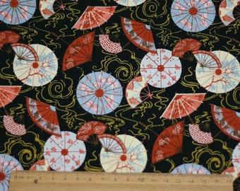 3604 - Oriental Umbrella Fan Floral Cotton Fabric - 43 Inch (Width) x 1/2 Yard (Length)