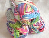 Red Heart Soft yarn, GIGGLE PRINT rainbow yarn, worsted weight, Baby Steps, blue green white pink lavender baby yarn