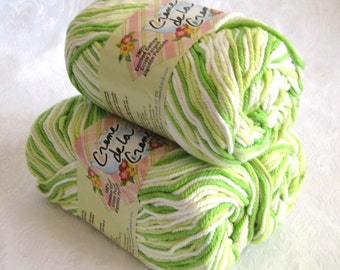 Creme de la Creme Cotton Yarn,  LIME GREEN OMBRE, 100% cotton worsted weight