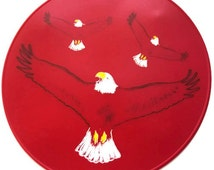 Red Silicone Soaring Eagles Table Trivet, Table Placemat, Kitchen Hot Pad, Kitchen Placemat