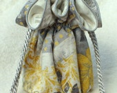 Perfect bridesmaid Jewelry Pouch, Travel Jewelry  Bag, Organizer in Grey and Yellow stripes