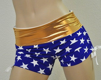 Super Hero Hot Yoga Shorts Blue and Gold Stars Low Rise SXYfitness Brand Sizes xxs-xxl (00-18 US)