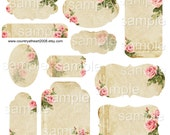 INSTANT DOWNLOAD -11 Shabby Rose tags -   Collage Sheet - Printable Download - Gift Tags - Scrapbook - Hang Tgas