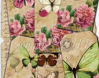Instant Download Hang Tags  - Timeless Treasures  -  Printable Digital Collage Sheet - Download