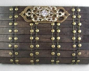 SALE 33% OFF - wood clutch purse handbag vintage industrial