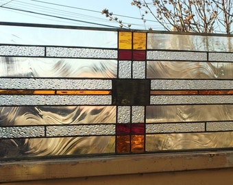 """Stained glass Transom - """"Mission Style/ Earth Tones"""" (TW-54)"""