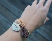 Hemp Macrame Falling Leaves Bracelet - Natural Eco Friendly