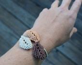 Hemp Macrame Falling Leaves Bracelet - Natural Eco Friendly