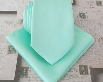 Mint Mens Tie. Pastel Mint Green Narrow Tie and Matching Pocket Square Set