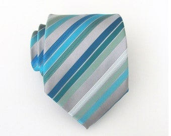 Mens Tie Silver Gray Dusty Shale Green Sky Blue Stripes Necktie With Matching Pocket Square Option