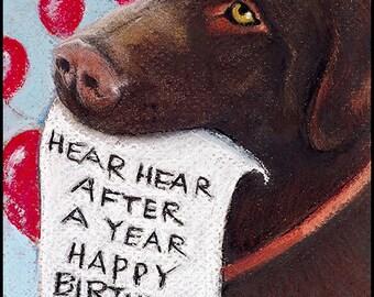 Chocolate Labrador Retriever Dog Happy Birthday blank 5 x 7 card