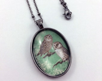 Green Owl Necklace / Owl Jewelry / Bird Necklace / Bird Jewelry / Wildlife Necklace / Wildlife Jewelry / Gift For Her / Jewelry For Her