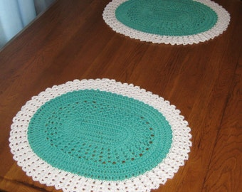 Crochet Cotton Oval Place mats set of 2 in Light Green and White