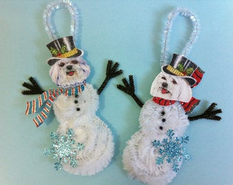 Maltese SNOWMAN vintage style CHENILLE ornaments set of 2 feather tree