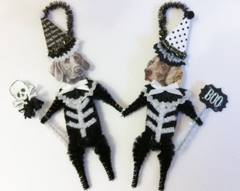 Weimaraner SKELETON Halloween vintage style CHENILLE ORNAMENTS set of 2