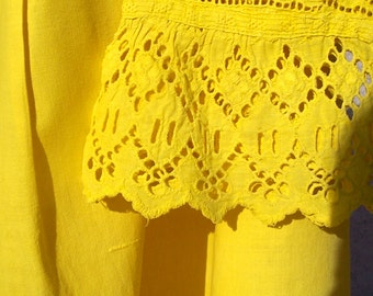 Vintage Antique EDWARDIAN Nightgown Eyelet Yellow