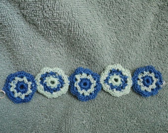 Crocheted Bracelet in Mint Green and Navy Blue