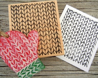Knit Knitting Texture Background Rubber Stamp 2 size choices - Handmade by BlossomStamps
