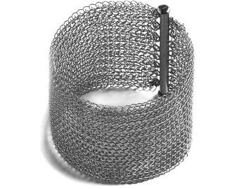 Cuff bracelet silver  wire crochet cuff handmade  wire crochet jewellery Wide Cuff Bracelet, Silver Cuff Bangle, Statement Bracelet