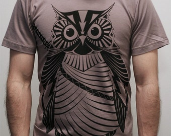 Samurai Owl -  Mens t shirt, father's day gift, owl t shirt, men shirt, graphic tee
