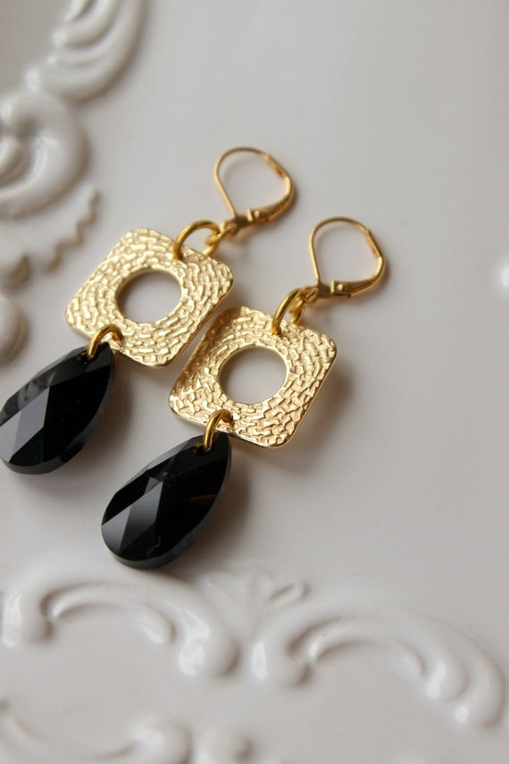 Jet Black Swarovski Crystal, Gold Square, Black Teardrop, Elegant, Statement Earrings