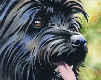 Black CAIRN TERRIER Art Print Signed by Watercolor Artist DJ Rogers