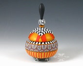 Ottoman Pot #6, Polymer Clay , Gold, Red, White and Black