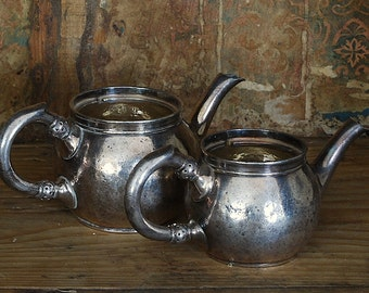 Antique Belgian Silverplate Individual Tea Pot and Cream Pitcher