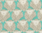De-stash Sale-Cotton and Steel Fabric- Fabric Shipping Special -Lions in Aqua, August by Sarah Watts - 3 yards left