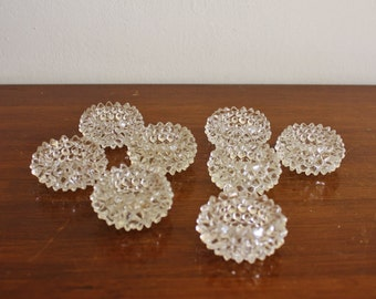 Vintage set of 8 hobnail glass salt and pepper cellars