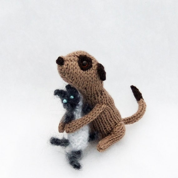 Knitted Meerkat and cat, meercat and kitten, grey and white fluffy pet cat, gift for pet lovers