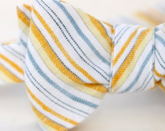 blue & yellow striped freestyle bow tie