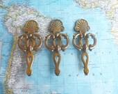 SALE! 3 vintage fancy brass metal pull handles w/slim trimplates