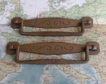 SALE! 2 wide mid century brass metal pull handles