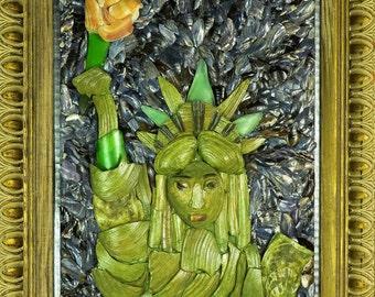 "Original Mixed media Seashell  mosaic and an acrylic painting ""Statue of Liberty"", Patriotic tribute, 16"" x 20"" x 2""."