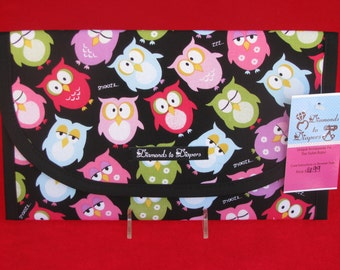 Snoozing Owls Diaper and Wipes Case Holder Clutch