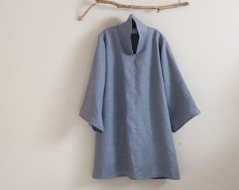 custom  heavy linen cloud collar tunic length blouse