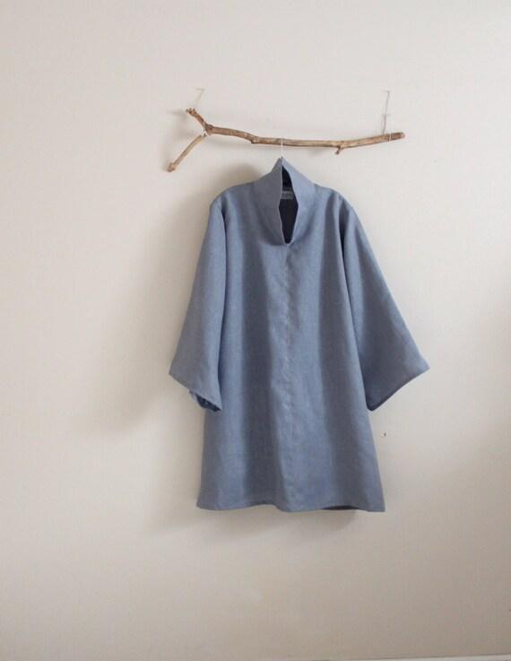 custom  heavy linen cloud collar tunic length blouse