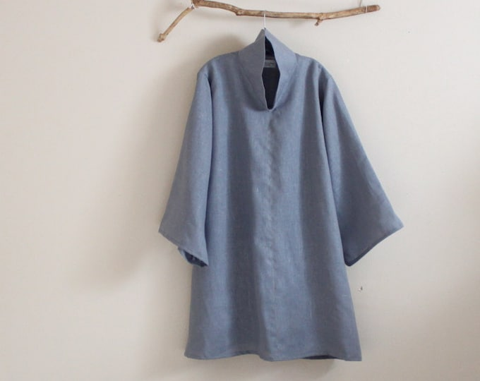 custom  heavy linen cloud collar tunic length blouse / plus size linen tunic blouse / made in USA / handmade high collar blouse