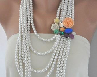 Pearl Necklace,Bohemian Brides, Floral Wedding Necklace, Wedding Necklace,Boho Weddings
