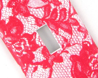 Lace Light Switch Cover Switchplate -- Magenta and White