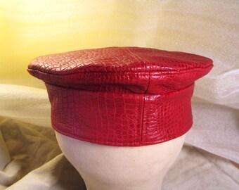 Red Leather Kufi Hat Crocodile Pattern Unisex Style