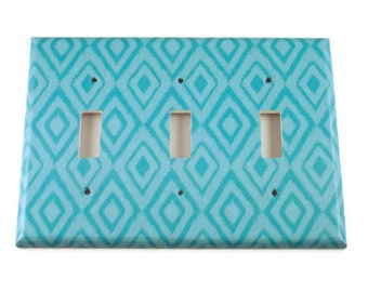 Wall Decor Triple Light Switch Cover  Switch Plate Switchplate in  Blue Ikat  (134T)