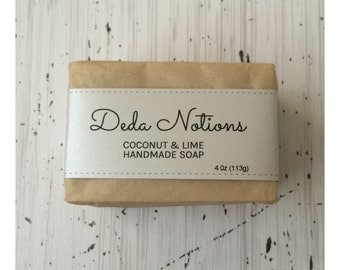 Coconut Lime - OLIVE & SHEA BUTTER Soap - Handmade Cold Process