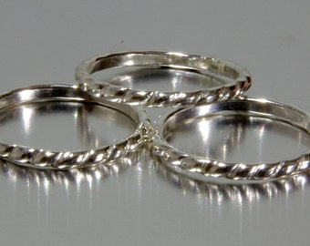 Silver Twist Ring - Stacker Rings - Thumb Ring - Braided Ring - Rope Ring, Nautical Ring, Ropes ring, Sailor Ring - twisted silver band