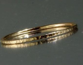Stack ring, Stacking ring, Gold ring, Thin ring, Hammered ring, Knuckle ring, Unique ring, Dainty ring, BFF, Rustic ring, Vertical hammered