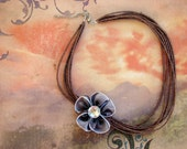 READY TO SHIP - Brown and Lavender Flower 6-Strand Beaded Necklace with Removable Pin Brooch - Bella Mia Beads